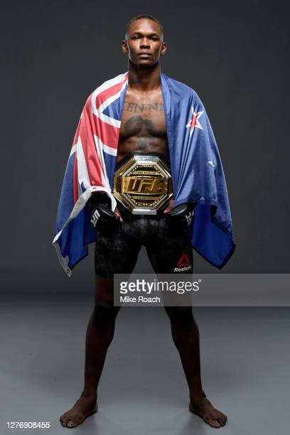 Israel Adesanya of Nigeria poses for a post fight portrait backstage during UFC 253 inside Flash Forum on UFC Fight Island on September 27, 2020 in...