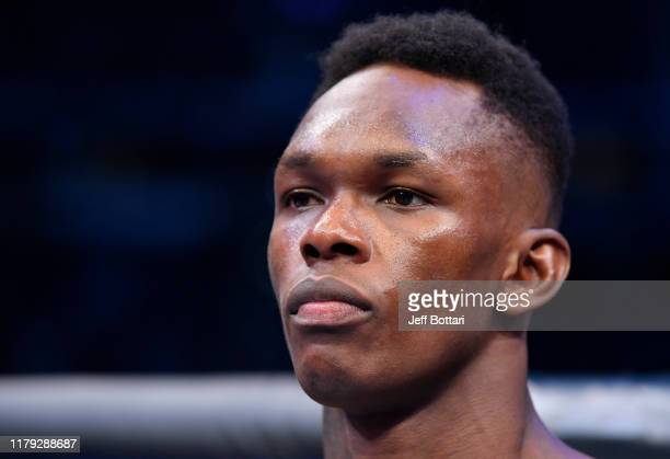 Israel Adesanya of Nigeria prepares to fight Robert Whittaker of New Zealand in their UFC middleweight championship fight during the UFC 243 event at...