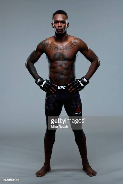 Israel Adesanya poses for a portrait during a UFC photo session on February 7 2018 in Perth Australia