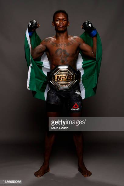 Israel Adesanya poses for a post fight portrait backstage during the UFC 236 event at State Farm Arena on April 13 2019 in Atlanta Georgia