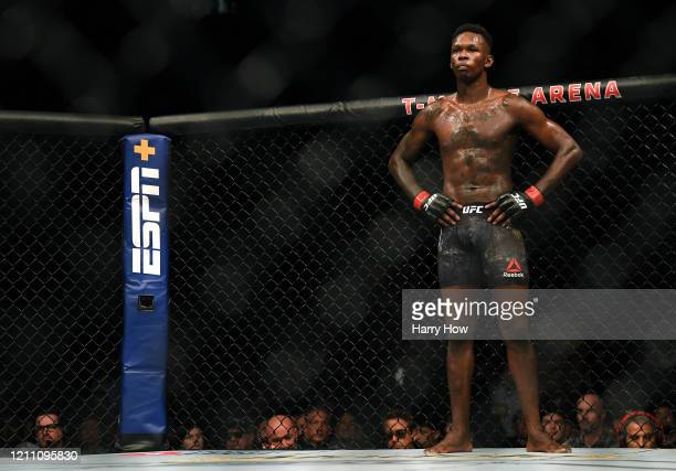 Israel Adesanya waits during his decision win over Yoel Romero to retain the middleweight title at TMobile Arena on March 07 2020 in Las Vegas Nevada