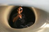An Israeli technician checks the air int