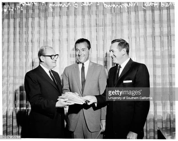 Israel bond purchase 12 May 1961 Fred Hall Raymond E LeeIrving H Brett Caption slip reads 'Photographer Tompkins Date Reporter Tompkins Assignment...