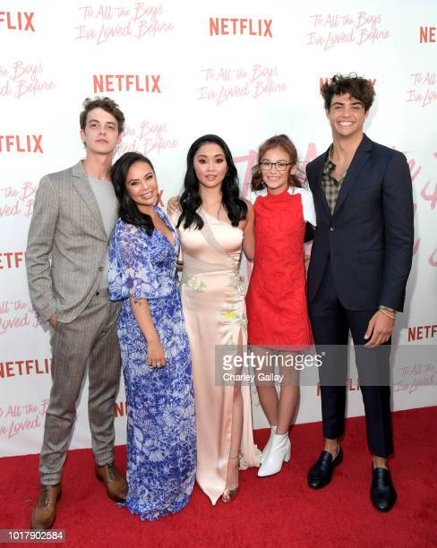 Israel Broussard Janel Parrish Lana Condor Anna Cathcart and Noah Centineo attend Netflix's 'To All the Boys I've Loved Before' Los Angeles Special...