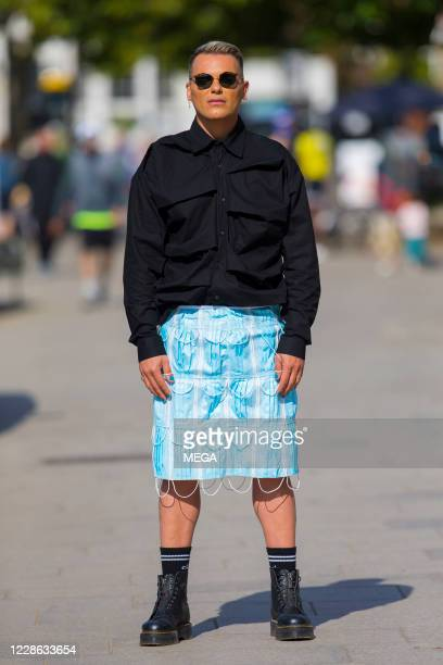 Israel Cassol is spotted wearing a skirt made with face masks on September 21 2020 in London England