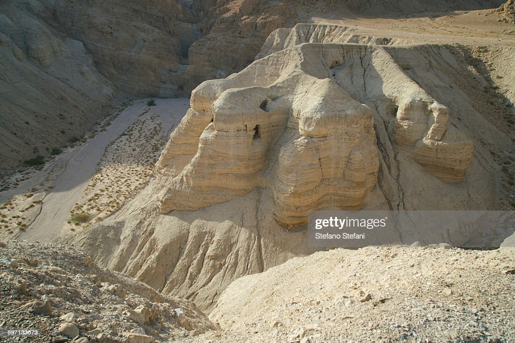 Israel, Caves of Qumran in the Judean Desert : Stock Photo