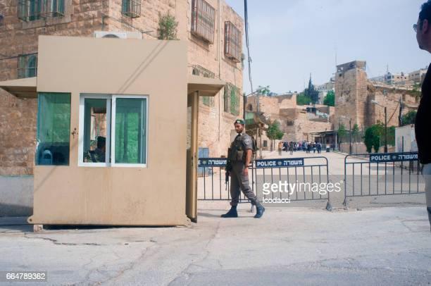 Puesto de control Israel. Hebrón, territorios palestinos.
