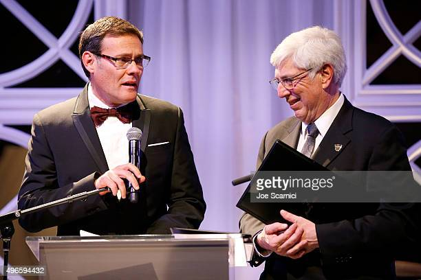 Israel Consul General David Siegel and Beverly Hills Mayor Julian Gold speak onstage during the American Friends of the Israel Philharmonic Orchestra...