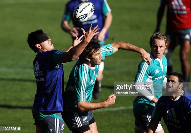 Israel Dagg and Conrad Smith compete for the high ball during a New Zealand All Blacks training session at North Harbour Stadium on July 2 2010 in...
