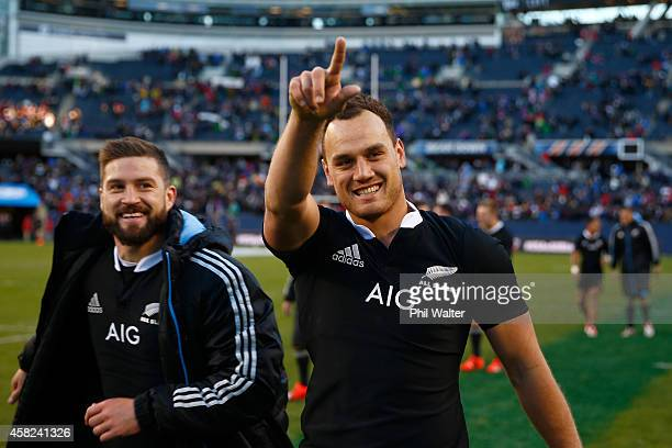 Israel Dagg and Cory Jane of the All Blacks waves to the crowd following the International Test Match between the United States of America and the...