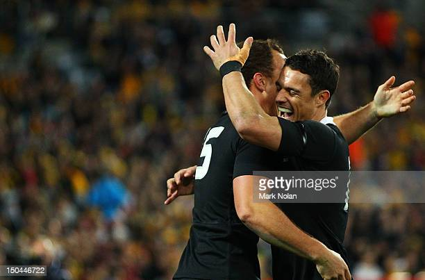 Israel Dagg and Dan Carter of the All Blacks celebrate a try by Dagg during The Rugby Championship Bledisloe Cup match between Australia and New...