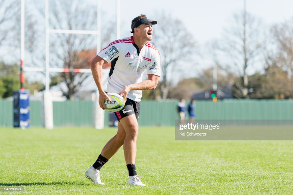 Israel Dagg charges forward during a Crusaders Super Rugby training session at Rugby Park on April 17, 2018 in Christchurch, New Zealand.