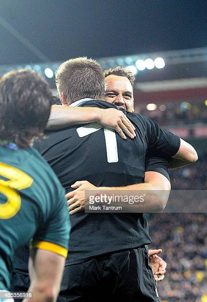 Israel Dagg cogratulates Richie McCaw for a try during The Rugby Championship match between the New Zealand All Blacks and the South Africa...