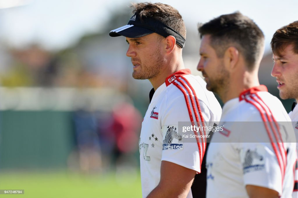 Israel Dagg looks on during a Crusaders Super Rugby training session at Rugby Park on April 17, 2018 in Christchurch, New Zealand.