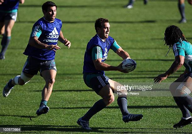 Israel Dagg looks to pass during a New Zealand All Blacks training session at North Harbour Stadium on July 2 2010 in Auckland New Zealand