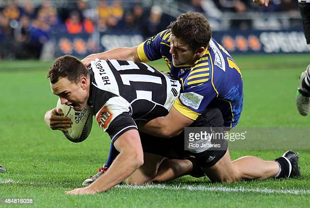 Israel Dagg of Hawke's Bay scores a try during the round two ITM Cup match between Otago and Hawkes Bay at Forsyth Barr Stadium on August 22, 2015 in...