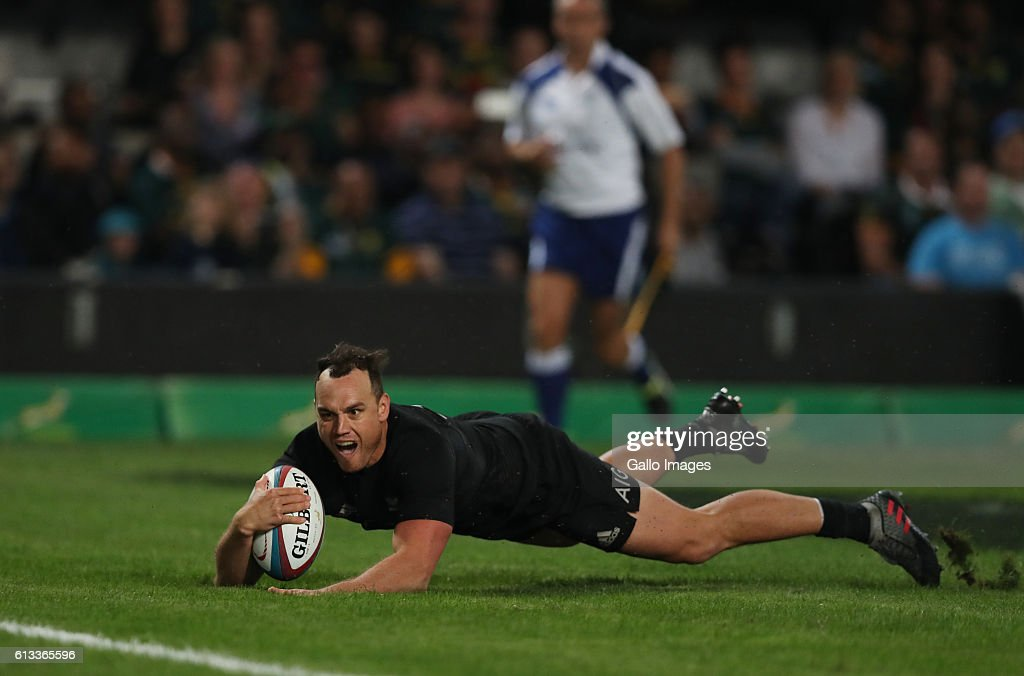 Israel Dagg of New Zealand over for a try during the The Rugby Championship match between South Africa and New Zealand at Growthpoint Kings Park on October 08, 2016 in Durban, South Africa.
