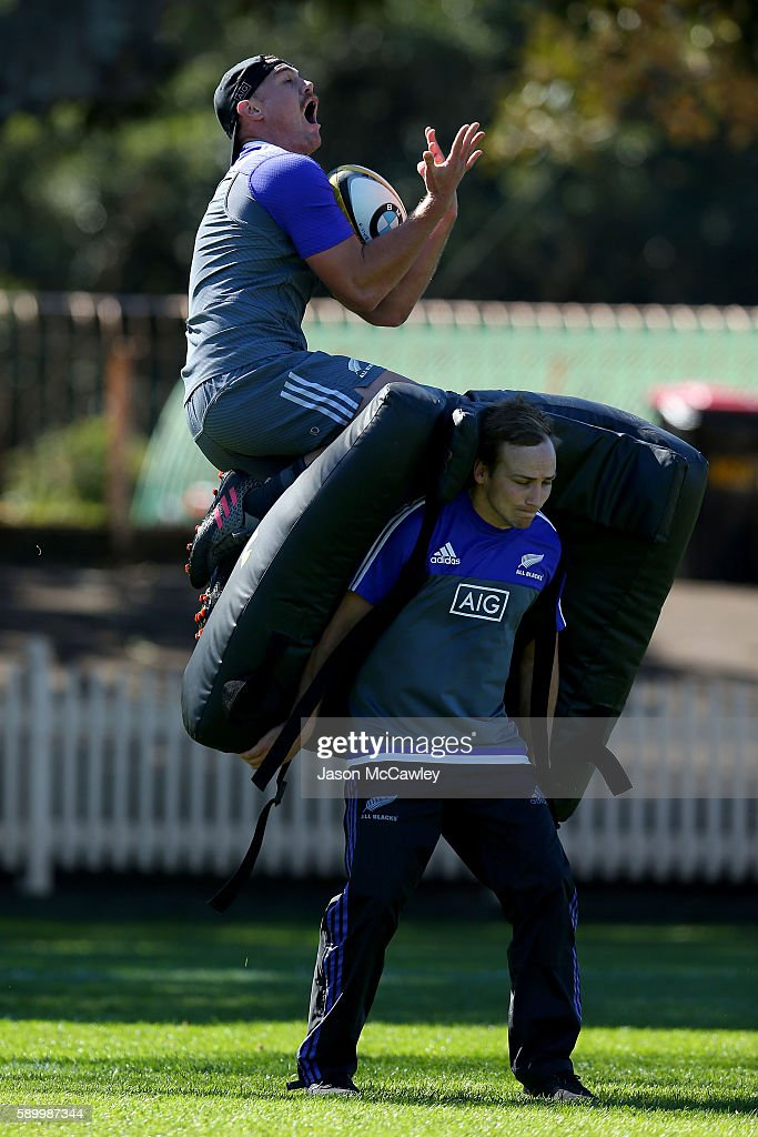 Israel Dagg of the All Blacks during a New Zealand All Blacks training session at North Sydney Oval on August 16, 2016 in Sydney, Australia.
