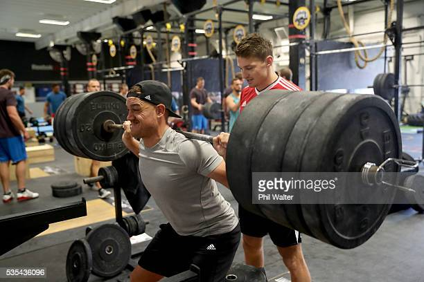 Israel Dagg of the All Blacks is spotted by Beauden Barrett during a gym session at Les Mills on May 30 2016 in Auckland New Zealand