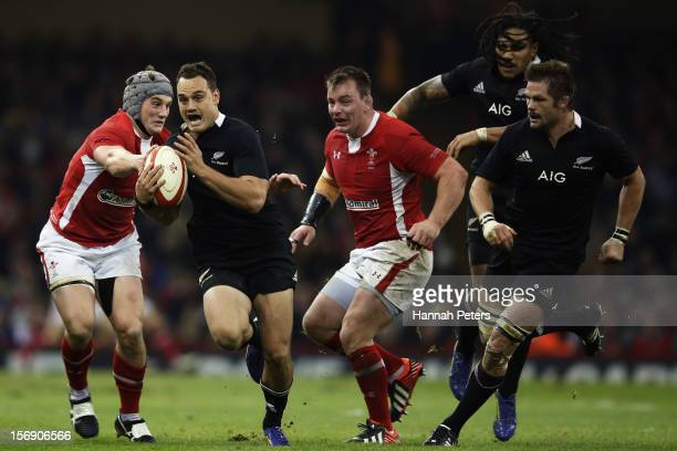 Israel Dagg of the All Blacks makes a break during the international match between Wales and New Zealand at Millennium Stadium on November 24 2012 in...