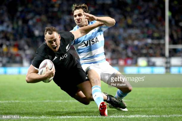Israel Dagg of the All Blacks scores a try during The Rugby Championship match between the New Zealand All Blacks and Argentina at Yarrow Stadium on...
