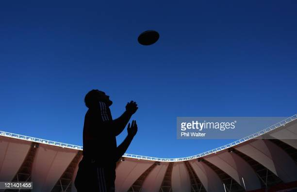 Israel Dagg of the All Blacks throws up the ball during the New Zealand All Blacks Captains Run at the Nelson Mandela Bay Stadium on August 19, 2011...