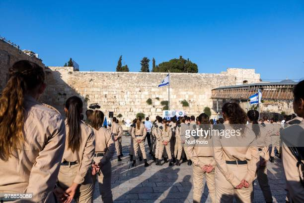 Israel Defence Force cadets are sworn in in old town of Jerusalem in front of the Wailing Wall on June 13 2018