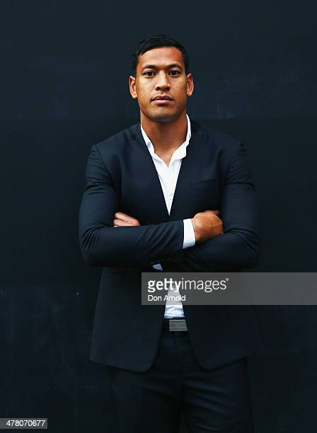Israel Falau poses at the Foxtel Presto launch at the Ivy on March 12 2014 in Sydney Australia