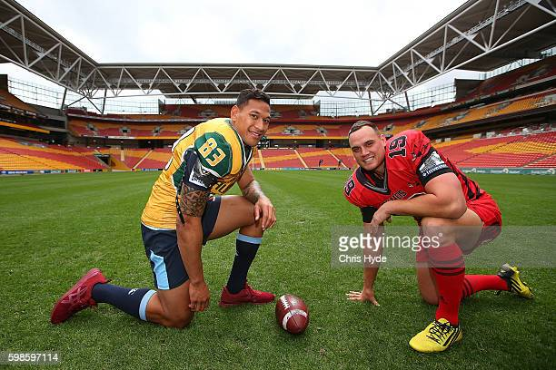 Israel Folau and Israel Dagg pose during a Global Tens media opportunity at Suncorp Stadium on September 2 2016 in Brisbane Australia
