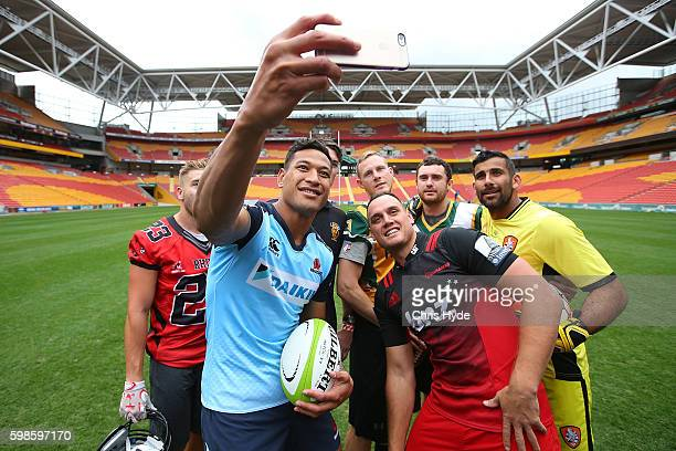 Israel Folau and Israel Dagg take a selfie during a Global Tens media opportunity at Suncorp Stadium on September 2 2016 in Brisbane Australia