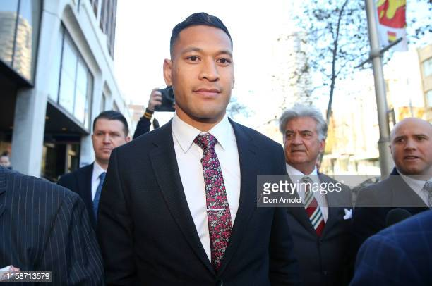 Israel Folau arrives ahead of his conciliation meeting with Rugby Australia at Fair Work Commission on June 28 2019 in Sydney Australia