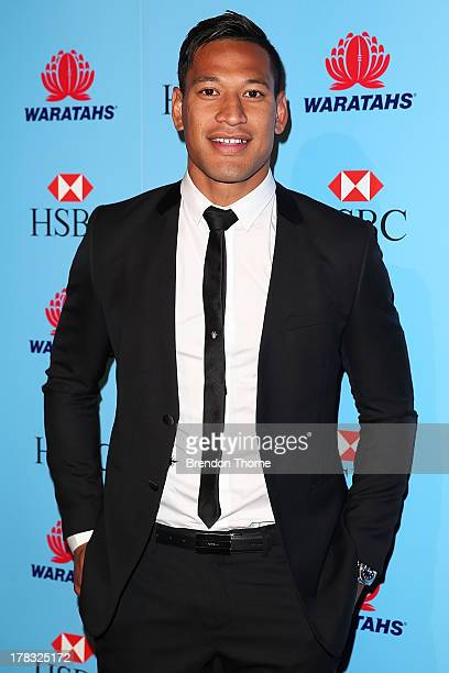 Israel Folau arrives at the HSBC Waratahs Awards Dinner at The Ivy on August 29 2013 in Sydney Australia
