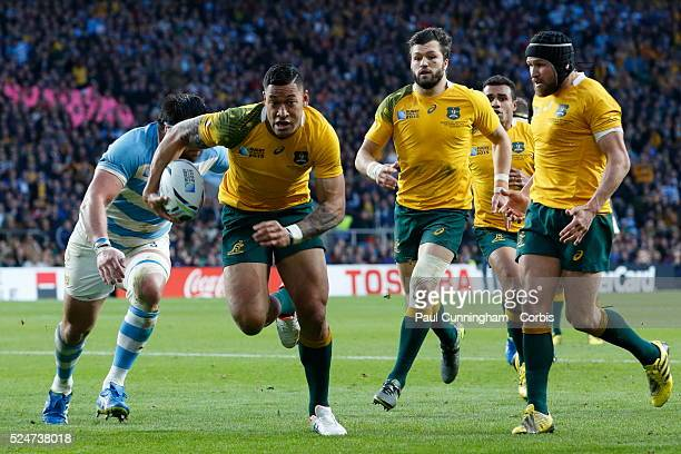 Israel Folau breaks free during the IRB RWC 2015 – Semi Final 2 Match 46 between Argentina v Australia at Twickenham Stadium London England 25...