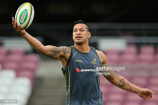Israel Folau catches the ball during an Australia Wallabies training session at Ballymore Stadium on September 5 2013 in Brisbane Australia