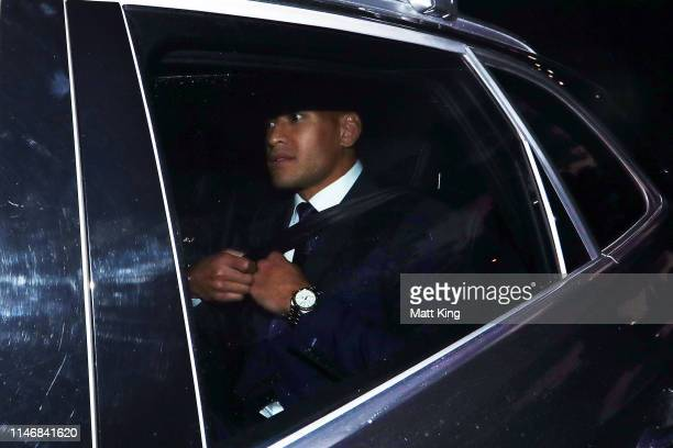 Israel Folau departs after Rugby Australia's code of conduct hearing into social media posts by Israel Folau at Rugby Australia HQ in Moore Park on...