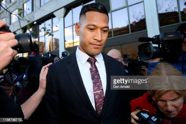 Israel Folau departs his conciliation meeting with Rugby Australia at Fair Work Commission on June 28, 2019 in Sydney, Australia.