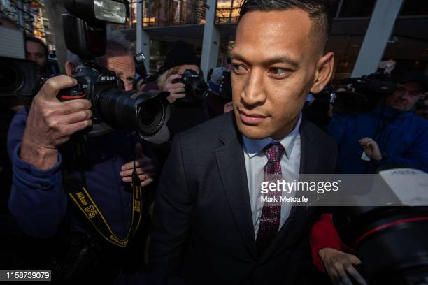 Israel Folau departs his conciliation meeting with Rugby Australia at Fair Work Commission on June 28 2019 in Sydney Australia