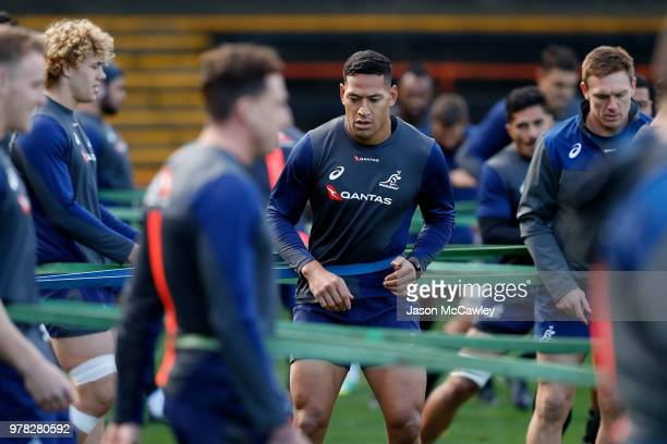 Israel Folau during an Australian Wallabies training session at Leichhardt Oval on June 19 2018 in Sydney Australia