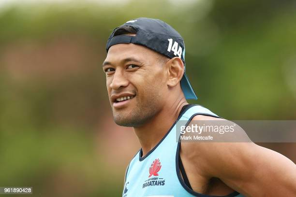Israel Folau looks on during a Waratahs Super Rugby training session at David Phillips Sports Complex on May 24 2018 in Sydney Australia