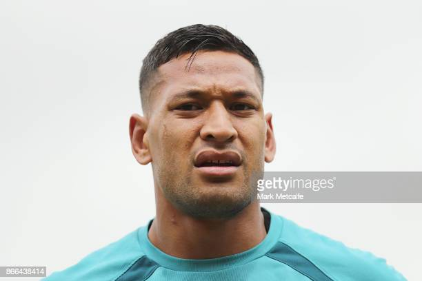 Israel Folau looks on during the Australian Wallabies training session at Leichhardt Oval on October 26 2017 in Sydney Australia