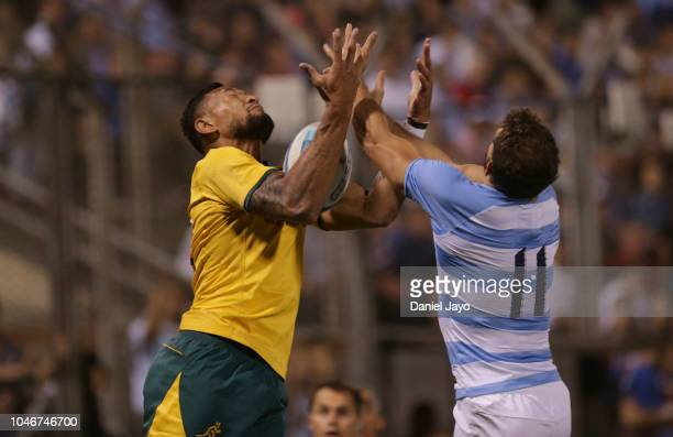 Israel Folau of Australia and Matias Moroni of Argentina jump for the ball during a match between Argentina and Australia as part of The Rugby...