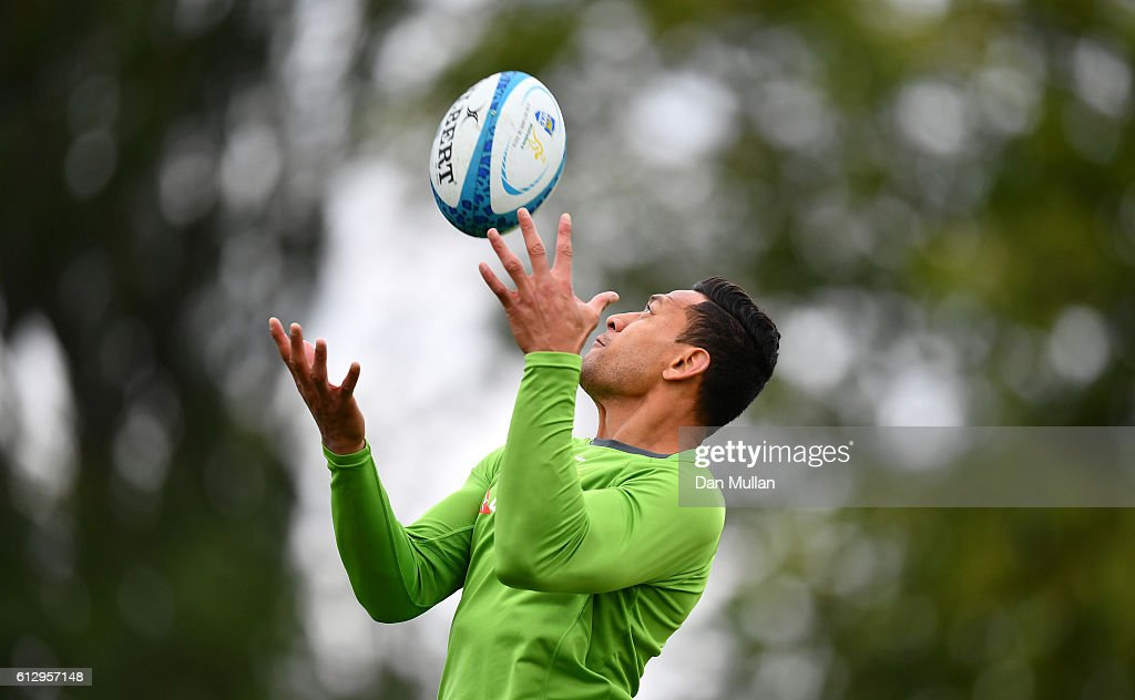 Israel Folau of Australia claims the high ball during an Australia training session at The Lensbury Hotel on October 6, 2016 in London, United Kingdom.