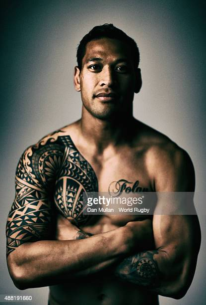 Israel Folau of Australia poses for a portrait during the Australia Rugby World Cup 2015 Squad photo call at the MacDonald Bath Spa Hotel on...