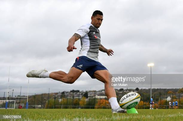 Israel Folau of Australia practices his kicking during a training session at Llanwern High School on November 06 2018 in Newport Wales