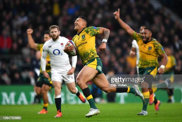 Israel Folau of Australia scores their first try during the Quilter International match between England and Australia at Twickenham Stadium on...