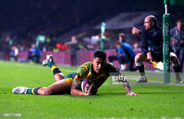 Israel Folau of Australia scores their second try during the Quilter International match between England and Australia at Twickenham Stadium on...