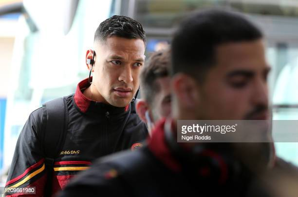 Israel Folau of Catalan Dragons arrives prior to the Betfred Super League match between Hull FC and Catalan Dragons at KCOM Stadium on March 01 2020...