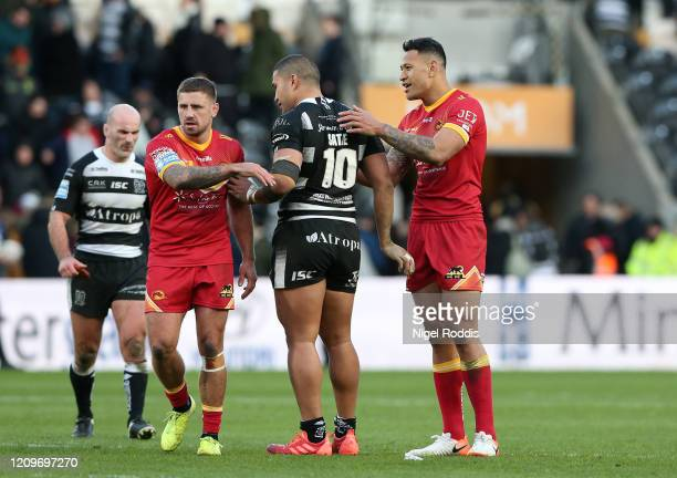 Israel Folau of Catalan Dragons shakes hands with Ligi Sao of Hull FC after the Betfred Super League match between Hull FC and Catalan Dragons at...