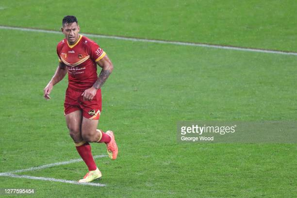 Israel Folau of Catalans Dragons during the Betfred Super League match between Leeds Rhinos and Catalans Dragons at Emerald Headingley Stadium on...
