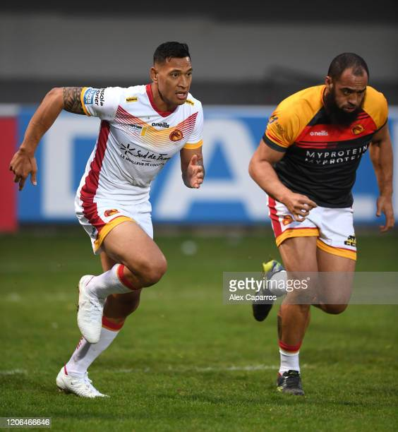 Israel Folau of Catalans Dragons in action during the Betfred Super League match between Catalans Dragons and Castleford Tigers at Stade Gilbert...